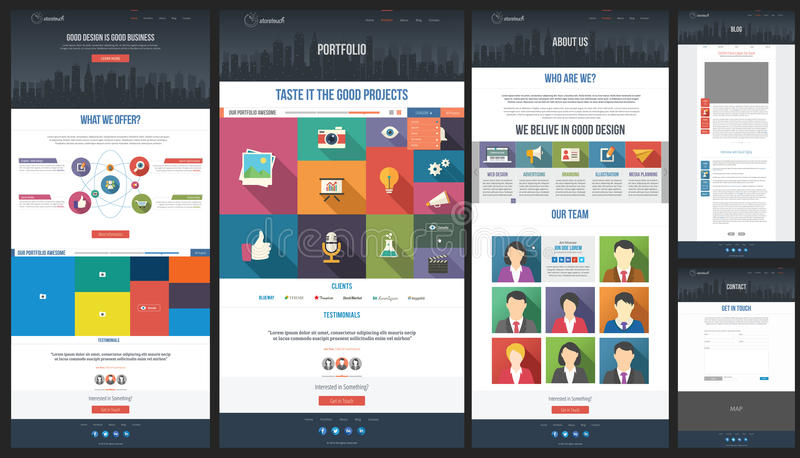 Flat Website Template - Homepage - Portfolio - Abo royalty free illustration