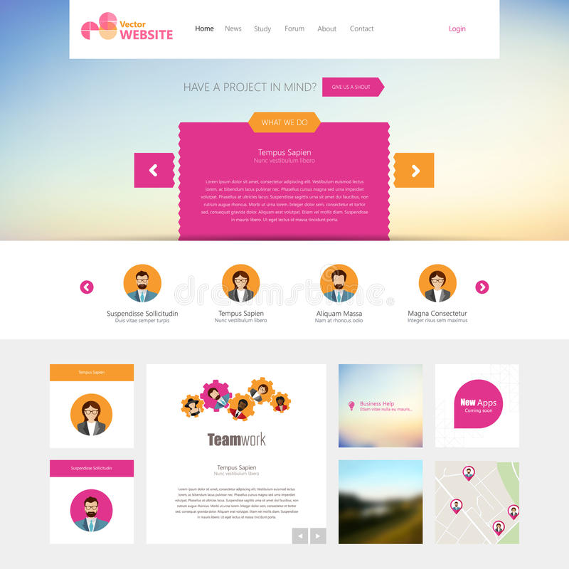 Flat Website Template (Homepage, Portfolio, About, Contact) Stock ...