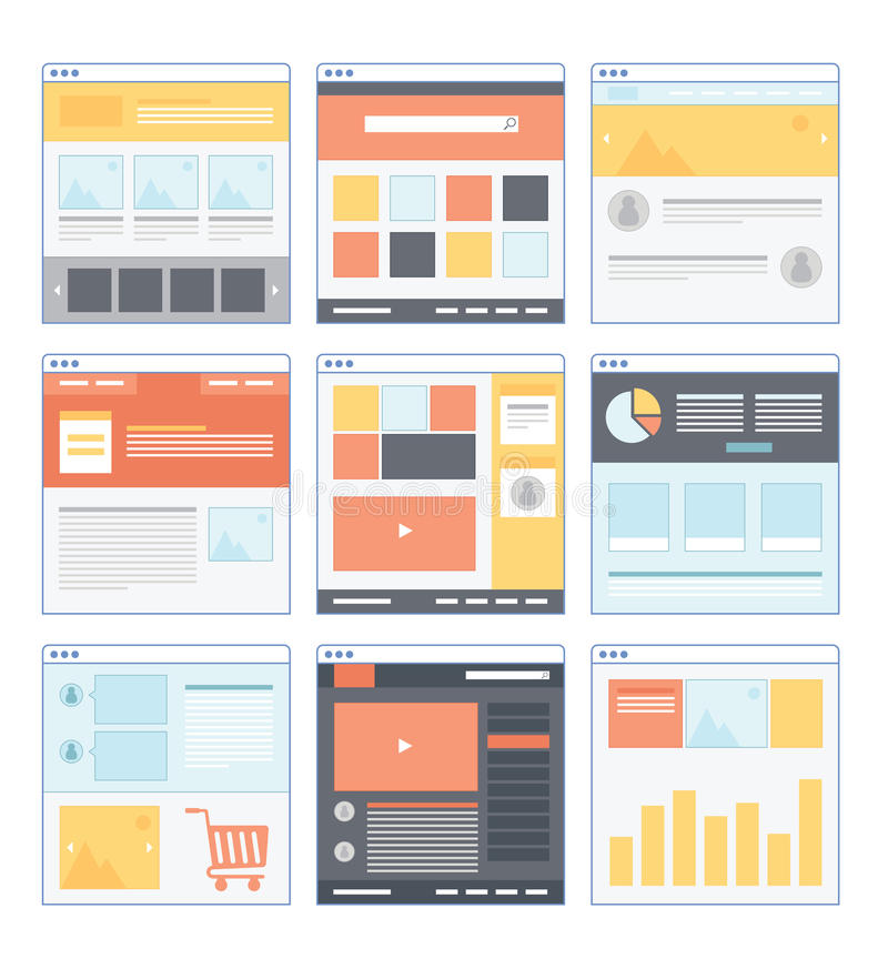 Flat Website Wireframe. With different variation and smooth color stock illustration