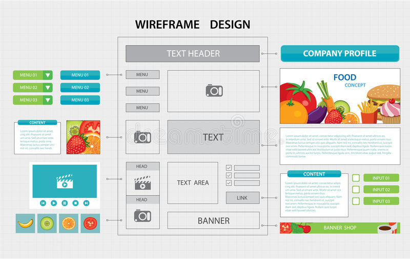 Flat Website Wireframe Template Stock Vector - Illustration of ...