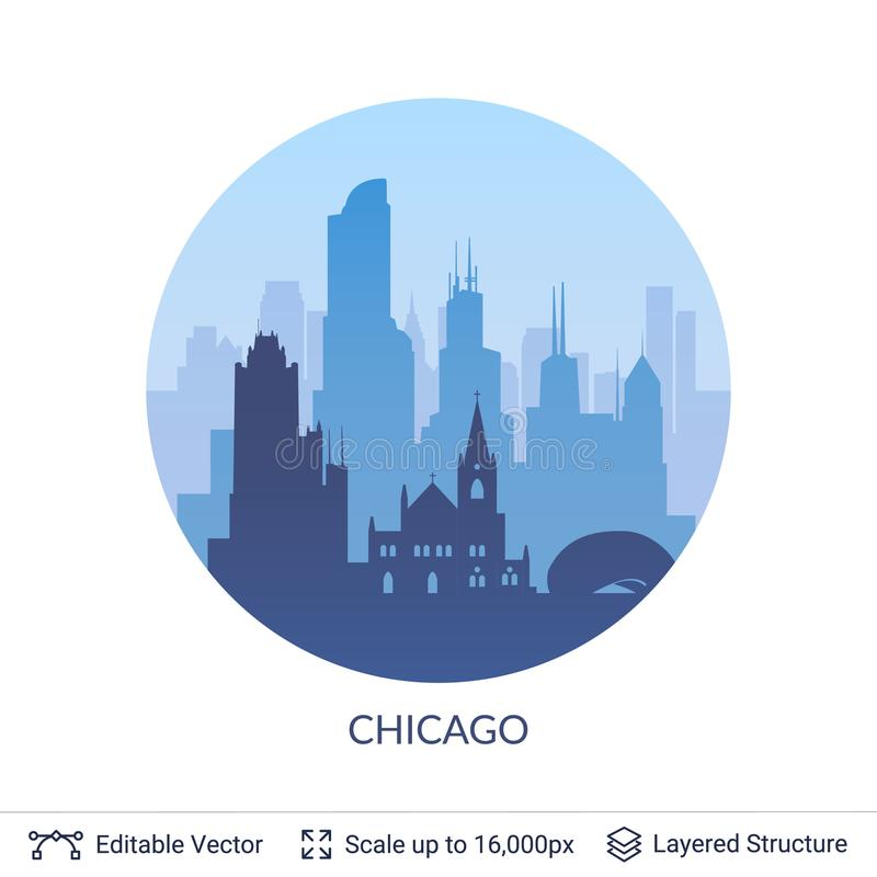 Chicago famous city scape. stock illustration