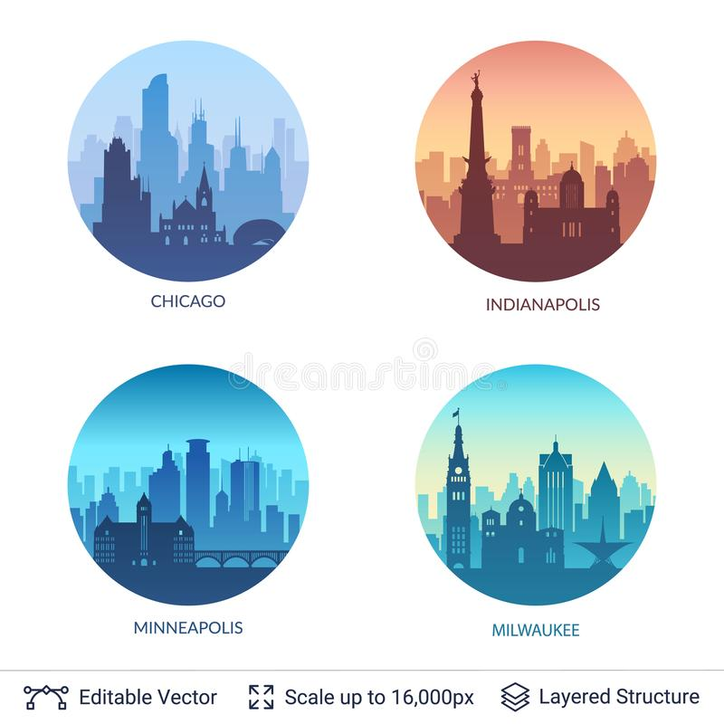 Collection of famous city scapes. stock illustration