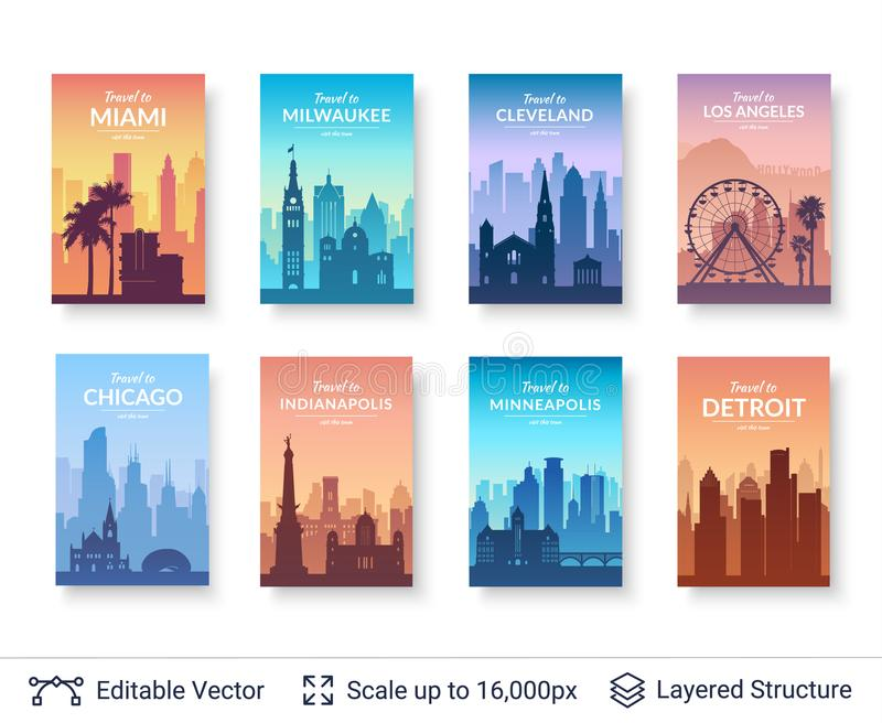 Collection of famous city scapes. vector illustration