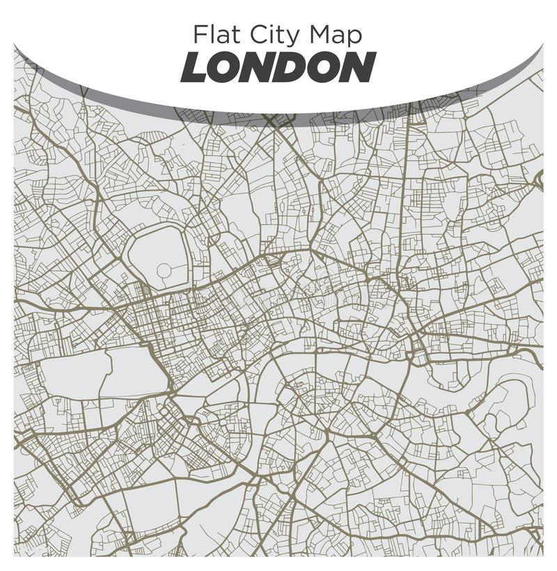 Flat White and Beige Map of Central London England royalty free stock photo