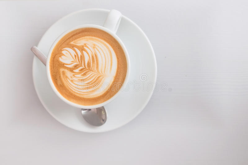 Flat white coffee art pattern from top royalty free stock images