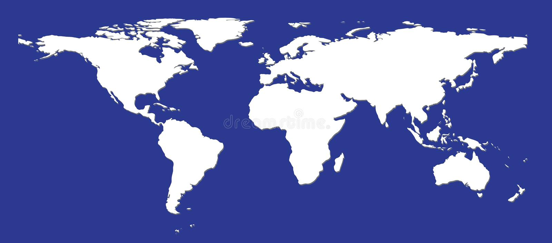 Flat white world map stock illustration