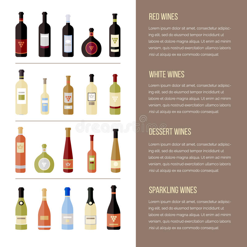 flat wine bottles. Different kinds of wine. Template for site, menu, infographics royalty free illustration