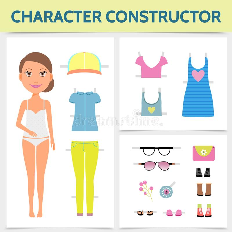Flat Woman Character Constructor Concept. With young attractive girl summer clothing footwear sunglasses lady handbag brooch isolated vector illustration stock illustration