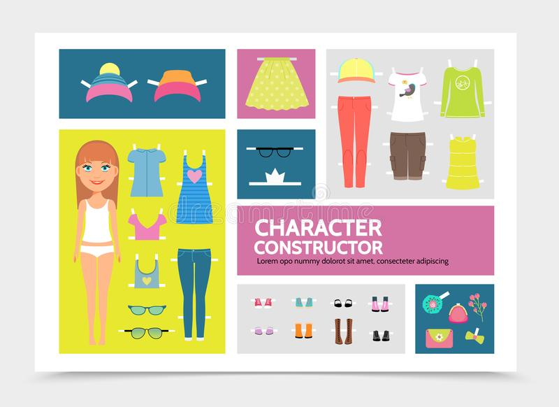 Flat Woman Character Constructor Infographic Template. With hat cap dresses trousers shirt skirt shorts sunglasses footwear handbag brooch isolated vector vector illustration