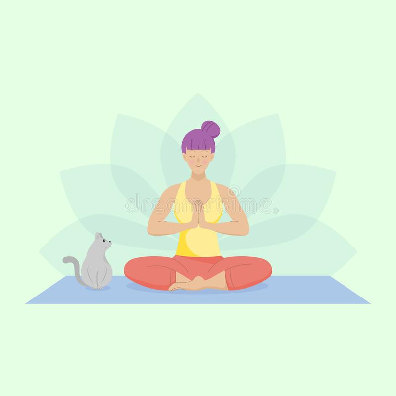 Flat woman practicing easy yoga. Sitting down on the mat with a cute cat. stock illustration