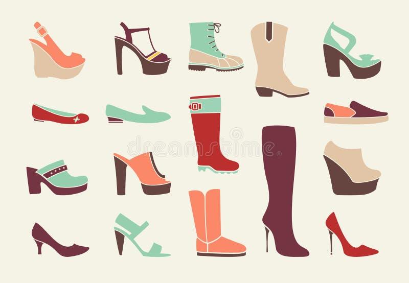 Flat women shoes. Set. Fashion design, elegance moccasin, vector illustration stock illustration