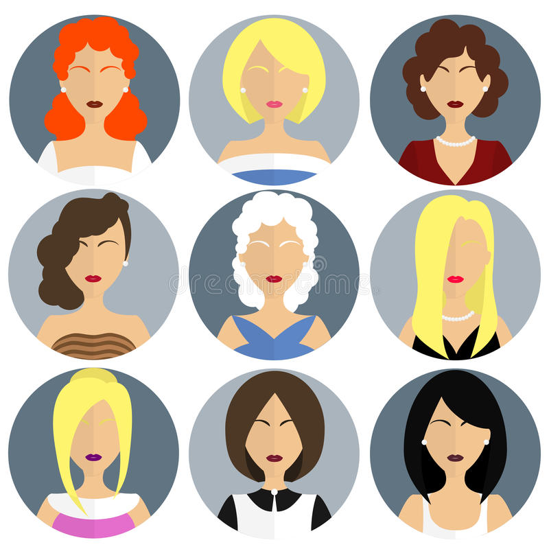 Flat womens glamor icon set. Collection of flat women avatars. Icon set stock illustration