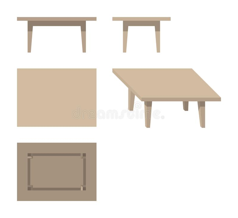 Flat wooden rectangular table. Wooden rectangular table from different directions on white background, flat, isometric, isolated, vector illustration royalty free illustration