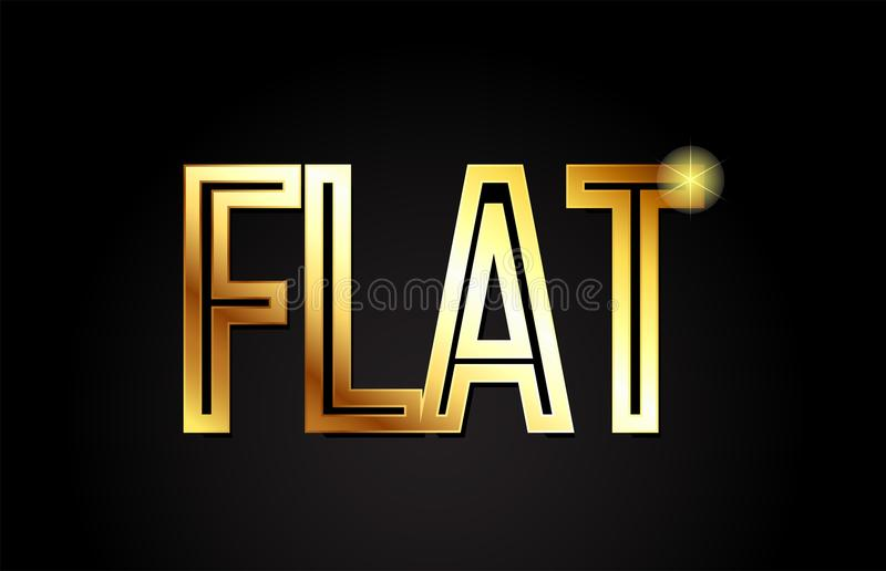 Flat word text typography gold golden design logo icon. Flat word typography design in gold or golden color suitable for logo, banner or text design stock illustration
