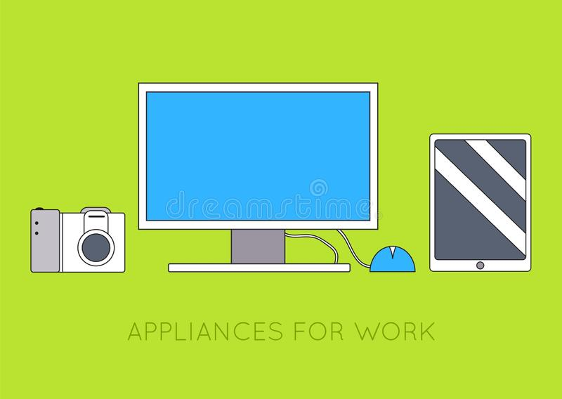 Flat workplace with computer background concept. Vector illustration design.  stock illustration