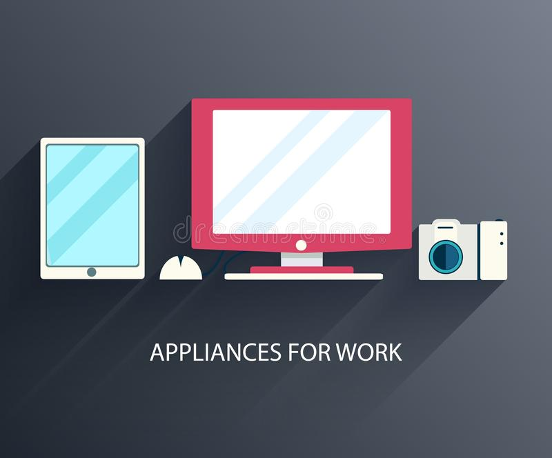 Flat workplace with computer background concept. Vector illustration design.  royalty free illustration