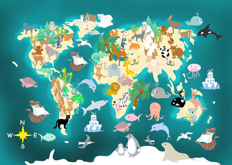 Flat World animals cartoonish kids map. Flat World animals colorful cartoonish kids map vector illustration