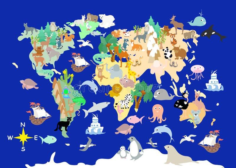 Flat World animals cartoonish kids map vector illustration