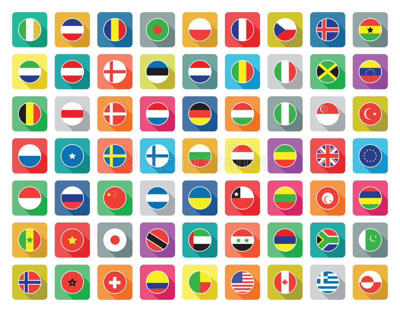 Flat world flag icons stock illustration