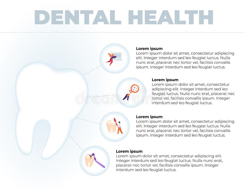 Flat is Written Dental Health Banner Cartoon. Foreground Large Healthy White Tooth. Right in Bubbles, Small Men and Women are Caring for their Teeth. Vector vector illustration