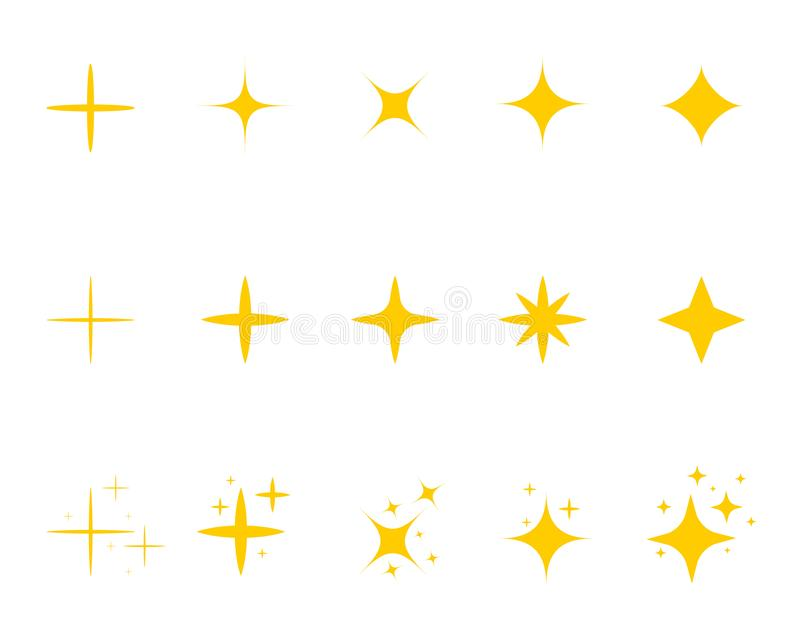 Flat yellow sparkle star.Gold twinkle stars cartoon style.Set of light firework, glow effect, bright bursts.Sparkle star with. Flash. Flat decoration twinkle on royalty free illustration