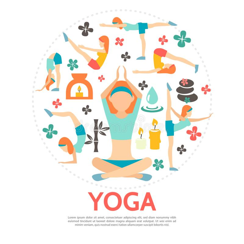 Flat Yoga Round Concept. With women in different poses bamboo spa stones candles flowers and water drop isolated vector illustration stock illustration