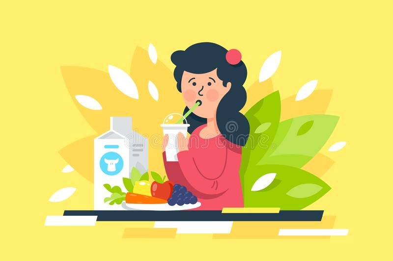 Flat young beauty woman with milk, vegetables and fruits on healthy diet. stock illustration