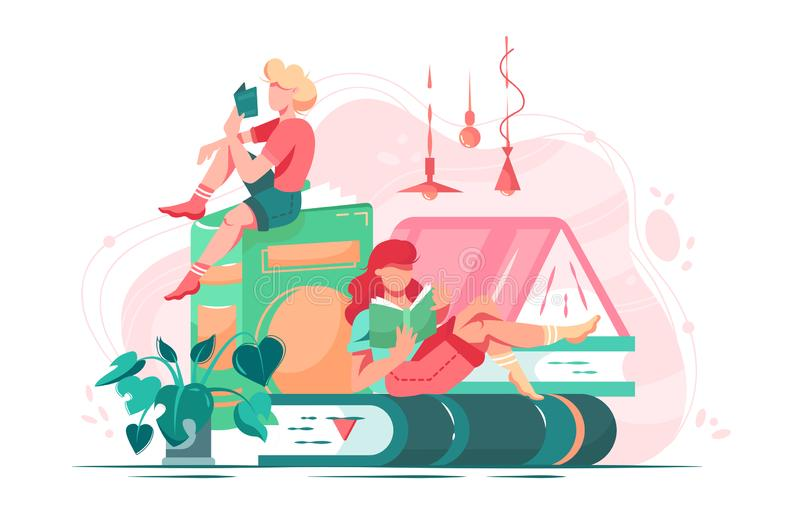 Flat young friend woman with books in room with abstract interior and plant. stock illustration