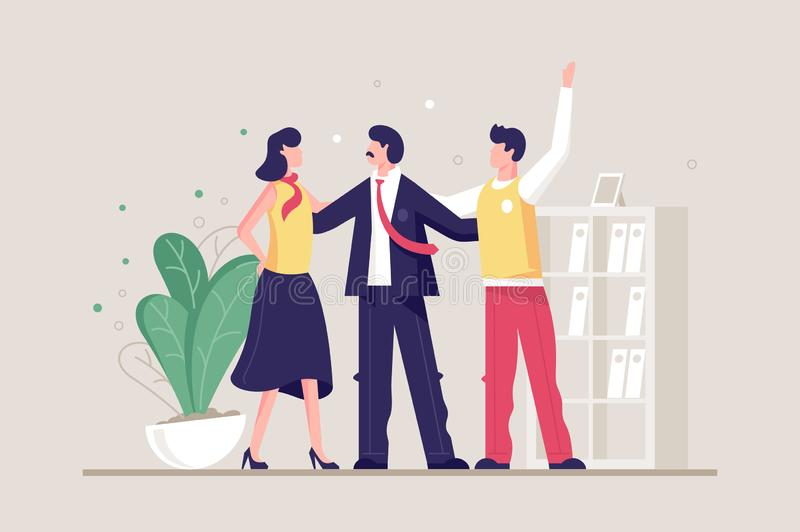 Flat young friendly team with man and woman in office. Concept businesswoman and businessman characters, workplace. Vector illustration royalty free illustration