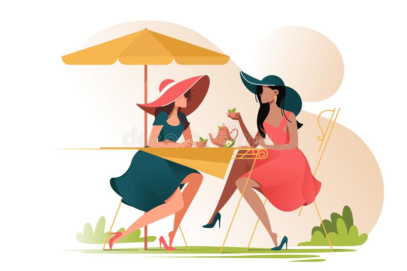 Flat young girl friends in cafe on meeting outdoors. royalty free illustration