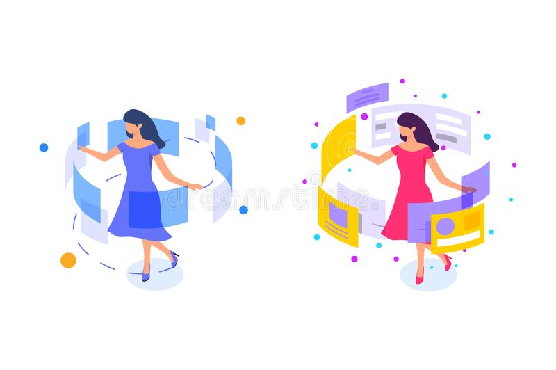 Flat young girl whirl with dress and interface. stock illustration
