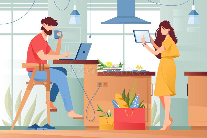 Flat young man with beard and beauty woman couple with gadgets in life. Concept wife and husband characters with modern device, tablet, laptop, mobile royalty free illustration