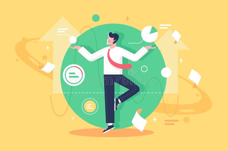 Flat young man employee control data, diagram and paper at work. Concept businessman character with suit engaged in management and stays calm. Vector vector illustration
