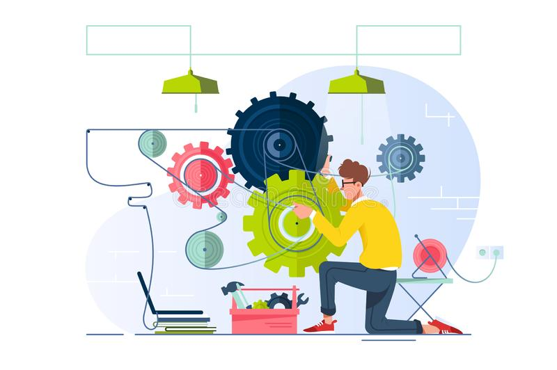 Flat young man repair and fine-tune gears with laptop. Concept srvice for optimization system, equipment. illustration royalty free illustration