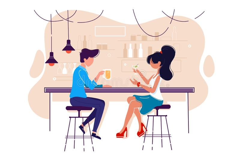 Flat young man and woman on date with drink in bar. Concept meeting with girl in cafe, communication and relationship. illustration royalty free illustration