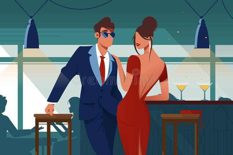 Flat young romantic couple in restaurant on date. stock illustration