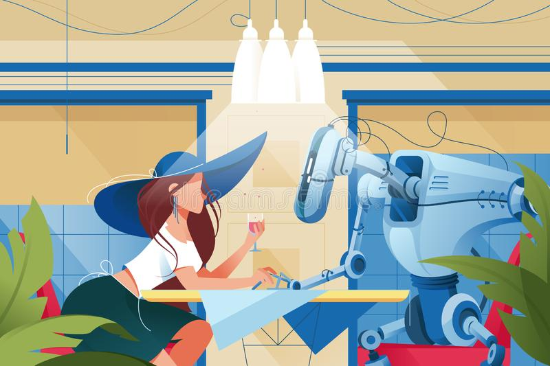 Flat young silhouette woman with hat and glass of wine on date with robot at restaurant. stock illustration