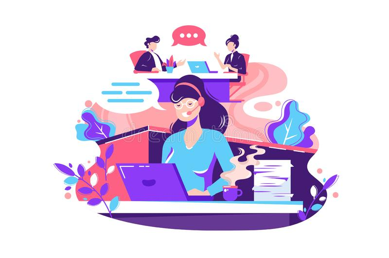 Flat young woman employee calls within office. Concept businessman and businesswoman characters at work, staff relationship. Vector illustration stock illustration