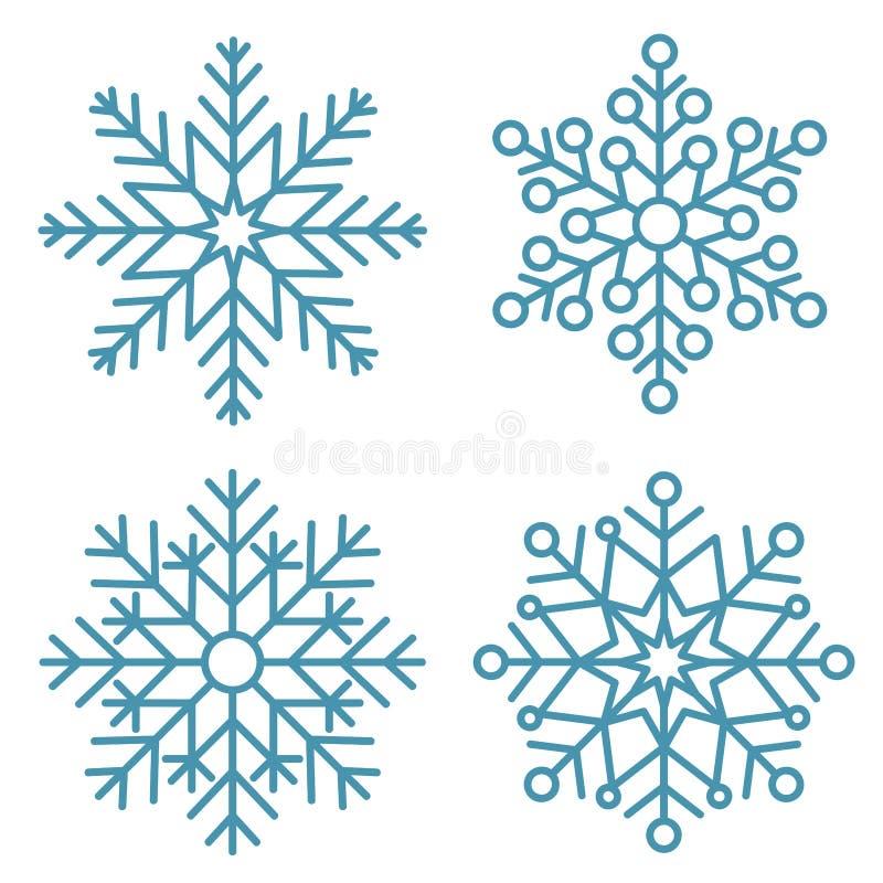 Flata snöflingor Winter snowflake crystals, christmas snöformer och frostad kallblå ikon, kall xmas-säsong frost av snöfall vektor illustrationer
