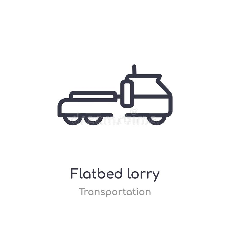 flatbed lorry outline icon. isolated line vector illustration from transportation collection. editable thin stroke flatbed lorry vector illustration