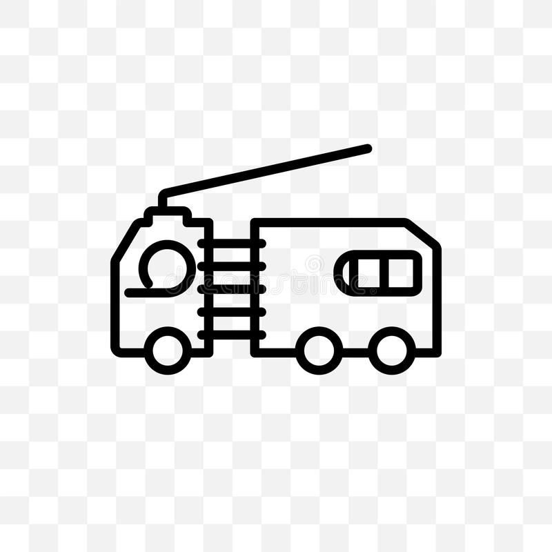 flatbed lorry vector linear icon isolated on transparent background, flatbed lorry transparency concept can be used for web and mo stock illustration