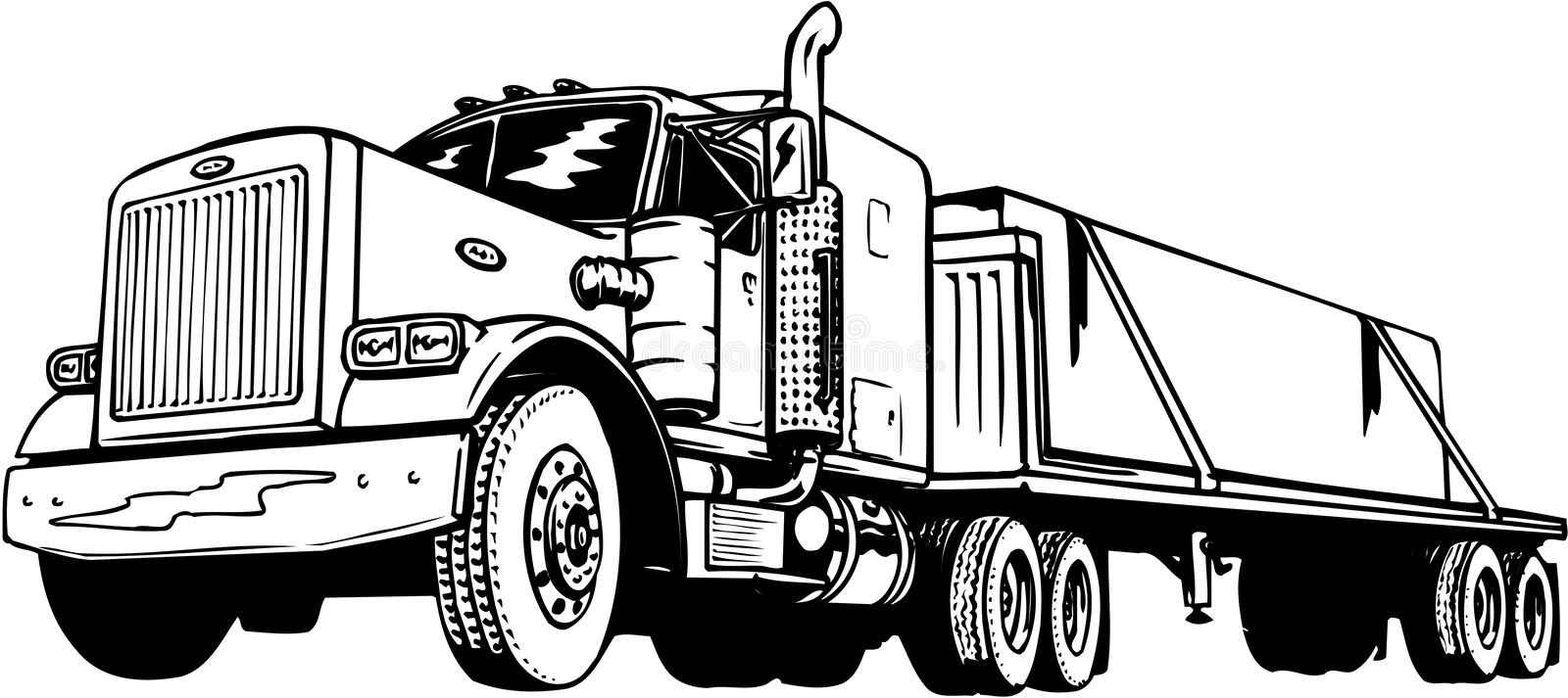 Flatbed Tractor Trailer Illustration. A vector illustration of a flatbed tractor trailer stock illustration