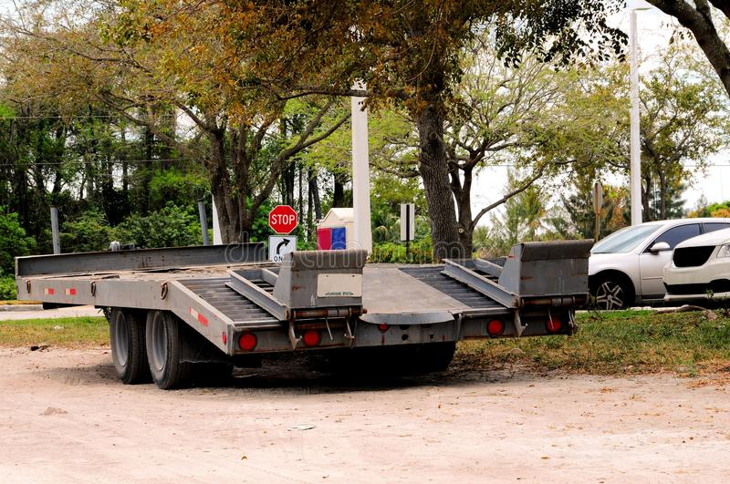 Flatbed trailer for heavy equipment royalty free stock photography