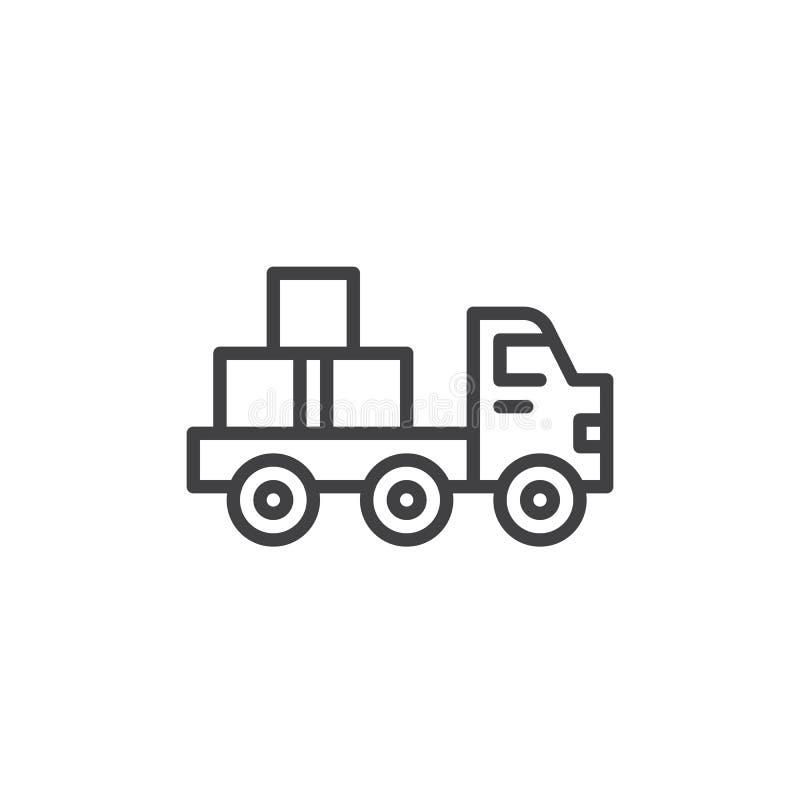 Flatbed truck line icon vector illustration