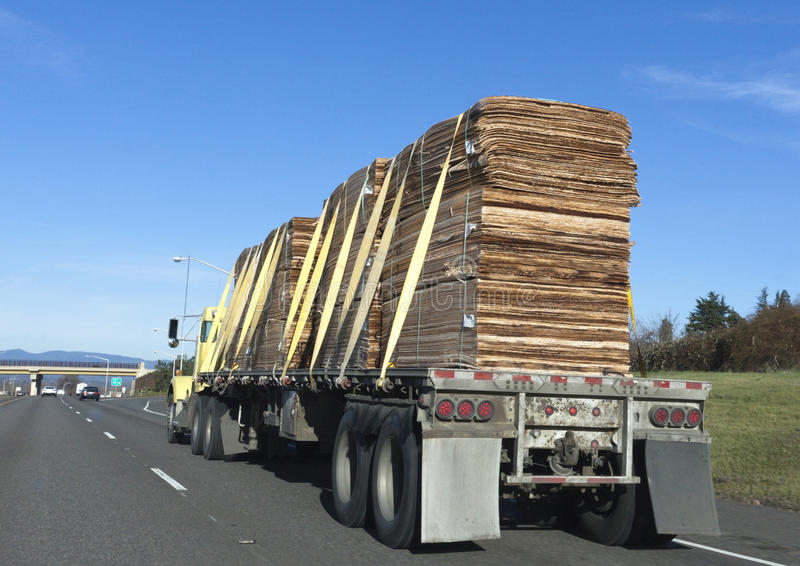 Flatbed Truck Lumber stock images