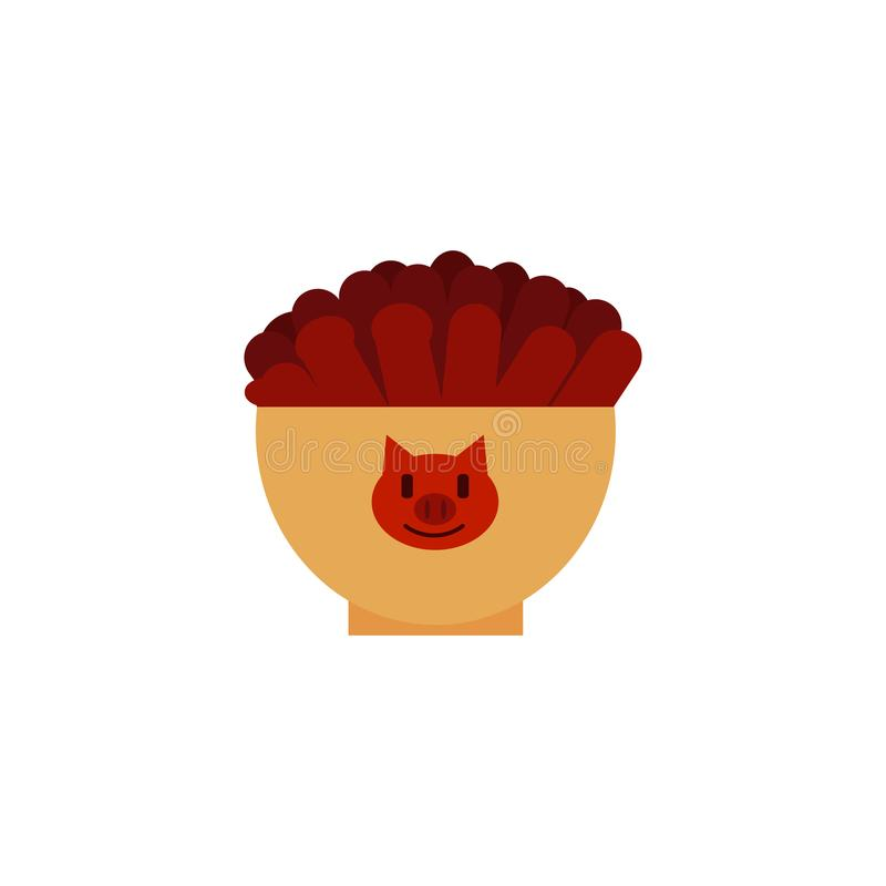 Vector flat beef slices snack icon. Flatbeef meat slices served in ceramic pot with pig image. Beer snacks, unhealthy crunchy crispy fat food. Junk fried slices stock illustration