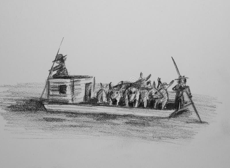 Flatboat con ganado libre illustration