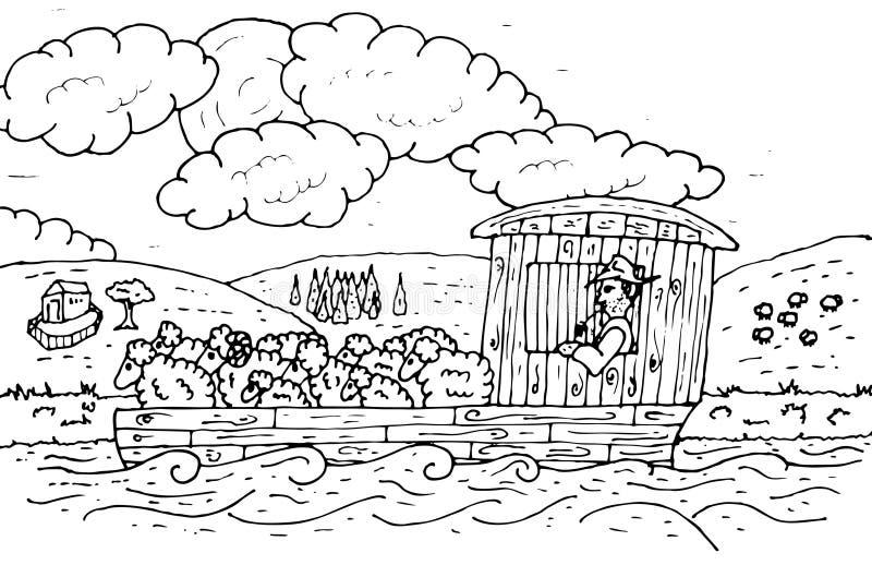 Flatboat con ganado ilustración del vector