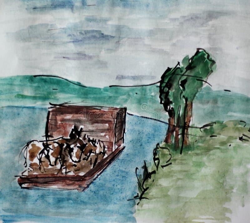 Flatboat with livestock