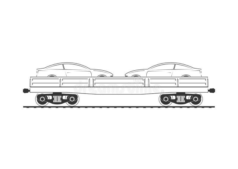 Flatcar z dwa samochodami ilustracja wektor